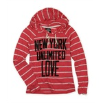 Ecko Unltd. Womens Popover Stripe Hooded Embellished T-Shirt