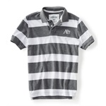 Aeropostale Mens Stripe A87 Rugby Polo Shirt