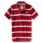 Aeropostale Mens 2 Button Stripe Rugby Polo Shirt