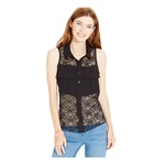 Material Girl Womens Lace Button Down Blouse