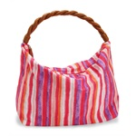 Aeropostale Womens Braid Striped Canvas Tote Handbag Purse