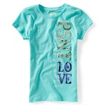 Aeropostale Girls P.s. Psny Love Vertical Graphic T-Shirt