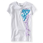 Aeropostale Girls PSNY 34 Glitter Graphic T-Shirt