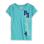 Aeropostale Girls PS NYC Puff Paint Graphic T-Shirt