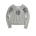 Justice Girls Sequin Snowflake Knit Sweater