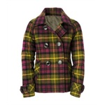 Aeropostale Womens Plaid Pea Coat
