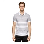 Calvin Klein Mens Striped Jersey Rugby Polo Shirt