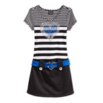 Pink & Violet Girls Striped Sparkle-Heart A-line Dress