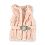 Beautees Girls Boho Belted Faux Fur Sweater Vest