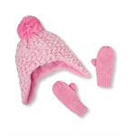 The Children's Place Girls Popcorn Knit Hat And Mitten Beanie Hat
