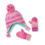 The Children's Place Girls Pom Pom Hat And Mitten Beanie Hat