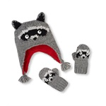 The Children's Place Boys Knit Raccoon Hat And Mitten Beanie Hat