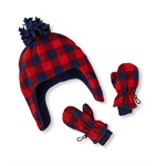 The Children's Place Boys Plaid Hat And Mitten Beanie Hat