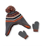 The Children's Place Boys Striped Pom Pom Set Beanie Hat