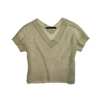 W118 Womens Glittery V-neck Mesh Knit Sweater