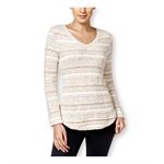 Style&co. Womens Petite Striped V-Neck Pullover Sweater