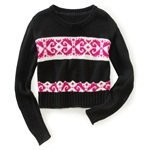Aeropostale Womens Fair Isle Boxy Crew Neck Knit Sweater
