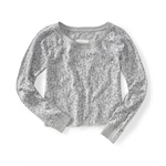 Aeropostale Womens Sleeve Leopard Print Cut-off Knit Sweater