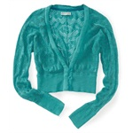 Aeropostale Womens Crochet Deep V-neck Cardigan Sweater