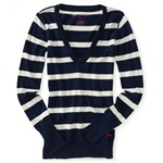 Aeropostale Womens Stripe V-neck Knit Sweater