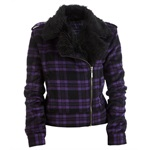 Aeropostale Womens Plaid Faux Fur Collar Field Jacket