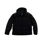 Sean John Mens Hooded Wool Mix Full Zip Quilted Fleece Jacket