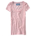 Aeropostale Womens Solid Aero Scoop Neck Basic T-Shirt