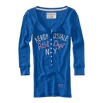 Aeropostale Womens Ribbed Athletic Dept Ny Henley Shirt