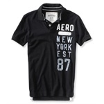 Aeropostale Mens Aero New York Est 87 Rugby Polo Shirt