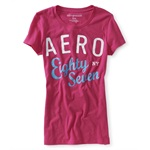 Aeropostale Womens Sparkle Glittery Crew-neck Graphic T-Shirt