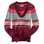 Aeropostale Womens Multicolortripe V-neck Cardigan Sweater