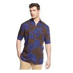 Tasso Elba Mens Woodblock Tropical Button Up Shirt