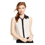 Material Girl Womens Colorblock Button Down Blouse