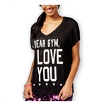 Material Girl Womens Mesh-Back Gym Graphic T-Shirt