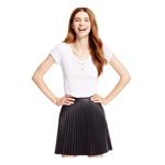 Material Girl Womens Faux Leather Pleated Skirt