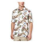 Tasso Elba Mens Festive Floral Button Up Shirt