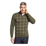 Tasso Elba Mens Refined Grid Quarter-Zip Pullover Sweater