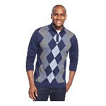 Tasso Elba Mens Quarter-Zip Argyle Pullover Sweater