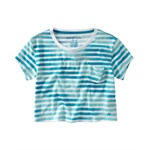 Aeropostale Womens Stripe Cropped Pocket Graphic T-Shirt