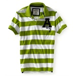 Aeropostale Mens A87 Stripe Rugby Polo Shirt