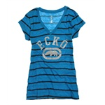 Ecko Unltd. Womens Stripe Glitter V-neck Graphic T-Shirt