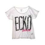 Ecko Unltd. Womens Lace Open Neck Graphic T-Shirt