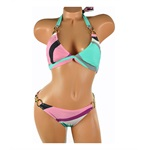 Radio Fiji Womens Stripe Halter Side Metal Ring 2 Piece Bikini