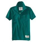 Aeropostale Mens Solid Pocket Rugby Polo Shirt