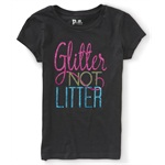 Aeropostale Girls Glitter Not Litter Graphic T-Shirt
